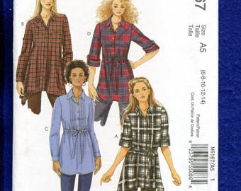 McCalls 6167 Country Chic Tunic Length Shirst Pattern Size 6 to 14 UNCUT
