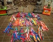"Set Of 20, 5""inch Textile Tassel, Upcycled Tassel, Groovy Textile Tassel, Jewelry Supply, Hmong Textile,Folk Art Decoration"