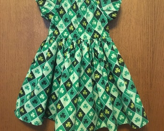 3T St. Patrick's Day Peasant Dress, Ready to Ship, Size 3T, Shamrocks, Twirl Dress