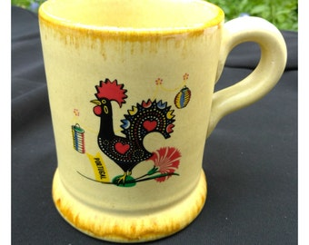 Vintage Argilart Stoneware Mug from Portugal with Good Luck Rooster