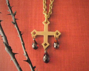 Gothic Cross, Gothic Cross Necklace, Red Stone, Red Drops, Necklace, Goth, Gothic, Gothic Jewelry, Gothic Necklace, Gothic Pendant, Cross