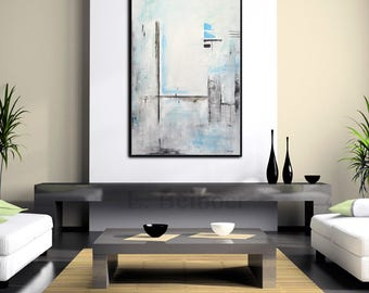 Original abstract painting large contemporary art blue white 24 x 36 modern oil painting design decor by L. Beiboer