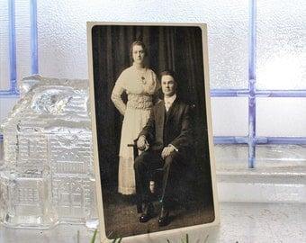 Antique Photograph Postcard Man and Woman