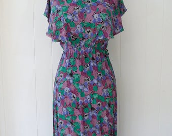 80's Floral Crepe Rayon Dress Romantic Watercolor Print Boho Flutter Cape Sleeve Made in England S