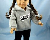 Doll Clothes 18 Inch - fit American Girl - Volleyball Hoodie and Sweatpants - 18 Inch Doll Clothes - Grey and Black