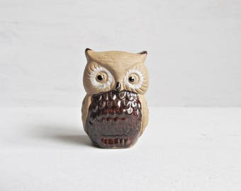 Small Retro Two Tone Brown Pottery Owl - Owl - Pottery Owl - Owl Figurine