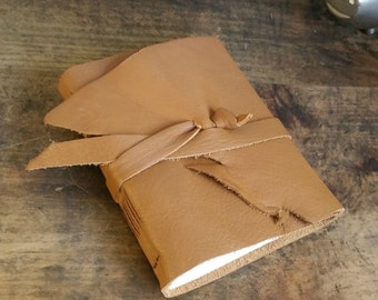 Leather Journal, Caramel Brown, Hand-Bound 4.75 x 6 Journal by The Orange Windmill on Etsy 1625