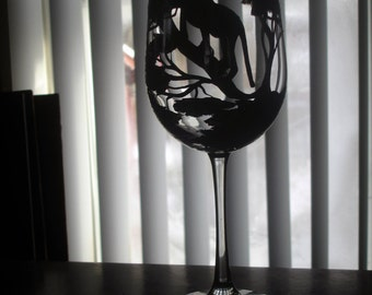 Hand painted lioness wine glass