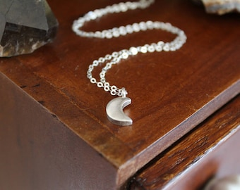 Moon Necklace - Small Crescent Moon Pendant, Handmade Fine Silver with Sterling Silver Chain, Magical Necklace for Intuition and Empowerment