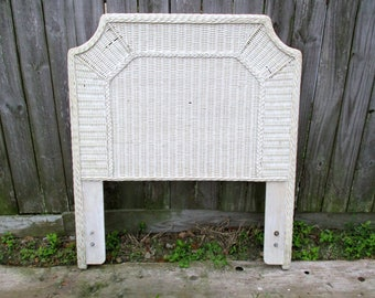 Twin headboard rattan wicker woven wood headboard twin large shabby rustic off white