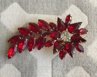 Large Red Rhinestone Brooch - Shooting Star