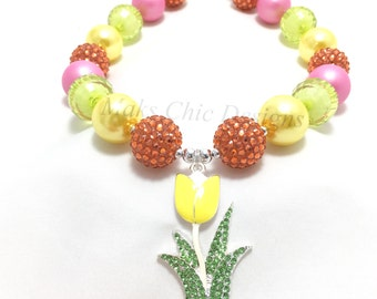 Toddler or Girls Yellow Tulip Chunky Necklace - Yellow, Orange, Pink and Lime Green Necklace - Girls Spring Flower Chunky Necklace - Tulip