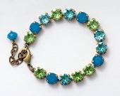 Green Aqua Rhinestone Bracelet, Teal Rhinestone Jewelry, Crystal Tennis Bracelet, Austrian Crystal, Nickel Free Bracelet Adjustable, Delwyn