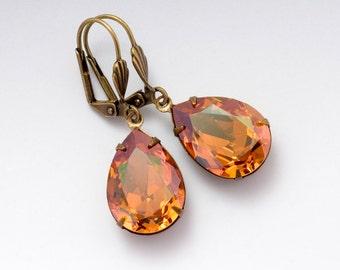 Brown Rhinestone Earrings Brass, Rhinestone Dangle Earrings, Brown Crystal Jewelry, Swarovski Crystal Earrings, Rhinestone Jewelry, Della