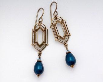 Dark Teal Art Deco Earrings, Teal Pearl Earrings, Nickel Free Jewelry, Pearl Drop Earrings, Pearl Art Deco Jewelry, Gifts for Her, Fiera
