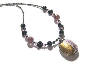 Murano Glass Black Purple Pendant Necklace, Venetian Glass Jewelry, Italian Glass Jewelry, Lampwork Glass Large Pendant Necklace, For Mom