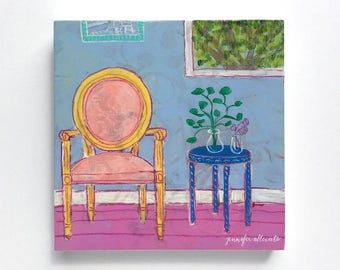Small abstract interior still life painting wall art - Seated 1