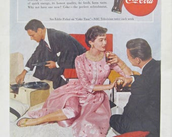 """Vintage 1955 Original Coke Two Men and One Woman Records & Cocktails 7"""" x 10"""" Coca Cola Magazine Advertisement on Heavy Paper Free Shipping"""