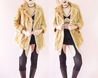 Tan 70s Faux Fur Margot Pea Coat, Double Breasted Vintage 1970s Pea Coat, Vintage Boho Fur Coat, Women's Size Small