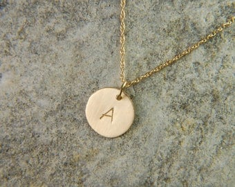 Gold Initial Necklace 10 mm 14K Gold Necklace Personalized Gold Necklace Gold Initial Pendant Luxury Jewelry