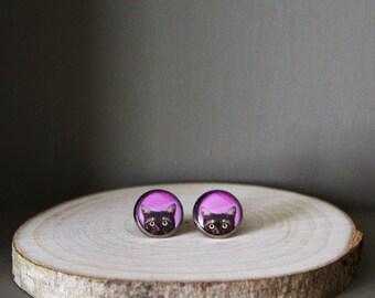Black cat earrings. Black and pink stud earrings.resin cat jewelry. Statement earrings forcat lover