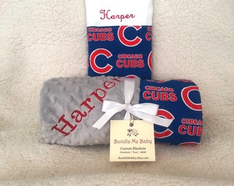 Chicago cubs fathers day gift baseball adult faux fur minky chicago cubs baby blanket toddler minky name embroidered gift set large minky personalized baby boy and negle Images