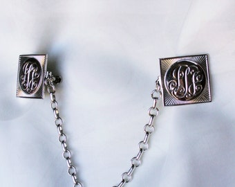 Vintage Coro Silver Tone Textured Sweater Guard Chain Clip Faux Initialed Monogram Classic 60s Accessory Designer Signed Jewelry
