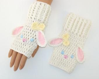 NEW! Bunny Crochet Fingerless Gloves-Crochet Gloves-Winter Gloves-Harajuku-Fairy Kei-Lolita-Animal Gloves-Christmas Gift-Gift For Her