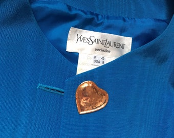 reserved don't buy Yves Saint Laurent electric blue  jacket gold heart buttons medium