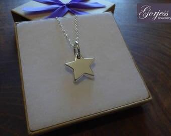 Chunky Silver Star Pendant Necklace, Handmade