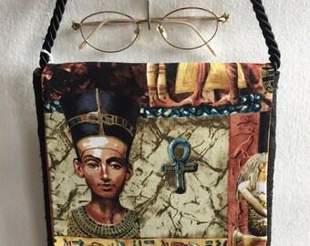Egyptian Fabric Sphinx Nefertti Isis Small Purse Shoulder Hand Bag Evening Clutch