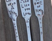 ONE Garden Marker flower pot stick Once Upon a Thyme ~ Live the Life you Love ~ Adopt the Pace of Nature ~ hand stamped Spoon handle