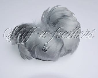 Gray feathers goose coquille for millinery, wedding accessories, jewelry making, crafts, small curled feathers, 2-4 in (5-10 cm) long / F205