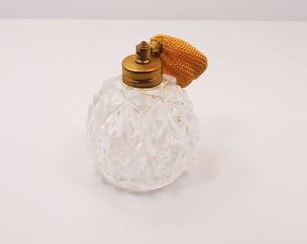 Beautiful Antique White Gold Glass 1950's Atomizer Perfume Vanity Bottle