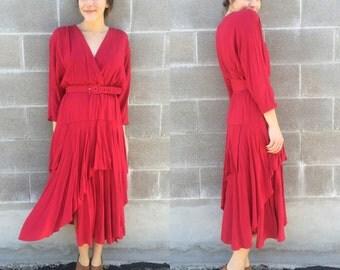 1970s red ruffle wrap dress w/ waist belt