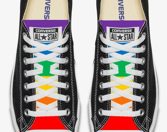 Converse Hand Painted Gay Pride with Rainbow Flag