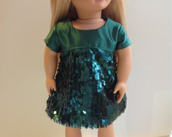 Green sequin dress, 18 inch doll dress, short sleeve doll dress, special occasion doll clothes