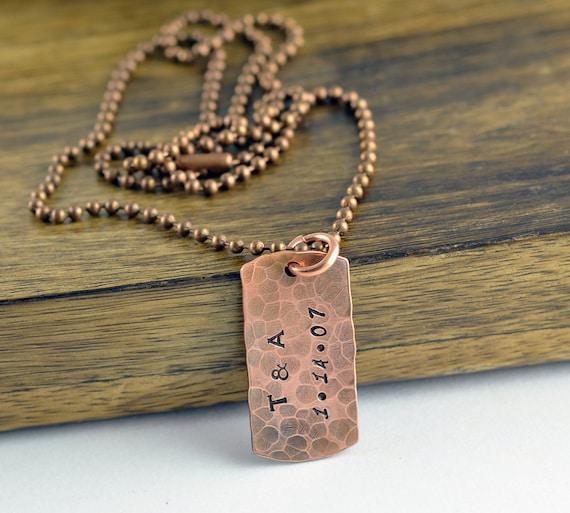 Anniversary Gifts For Men: Anniversary Gift Copper Anniversary Gift For Men Dog Tag