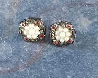 Free Shipping: Vintage Hungarian Seed Pearl/Red Paste Earrings with Stars and Scrolls