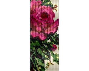 Victorian Rose Loom Bead Pattern, Bracelet Pattern, Bookmark Pattern, Seed Beading Pattern Miyuki Delica Size 11 Beads, PDF Instant Download