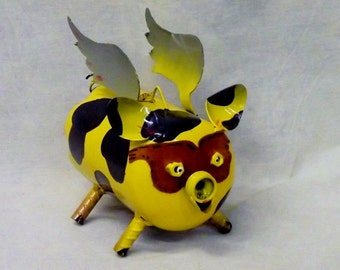 Fancy Fashionistas Fly-N-Pigs/Black/Yellow/Little Piggy/Pigs/Bumblebee/Pig collector/Piggy Art/Upcycled Art/Recycled/Christmas Gift/Piggy