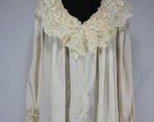 Vintage Ruth Norman Antique Cream Nightgown Lounge Wear Robe NOS Medium