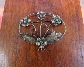 Victorian Revival Brooch Floral 1940's Brooch Sterling Silver Wired Flower Pin with Patina