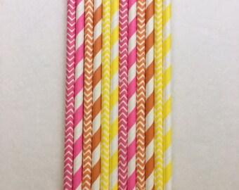 Pink ~ Orange ~ Yellow ~ Citrus Sunrise ~ Paper Straws ~ Wedding Straws ~ Cocktail Straws ~ Cake Pop Straws