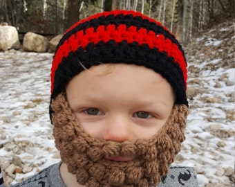Black And Red Crochet Beard Beanie Toddler Size, Hats for Toddlers, Crochet Beard Hat, Winter Hat for Kids, Warm Winter Hat