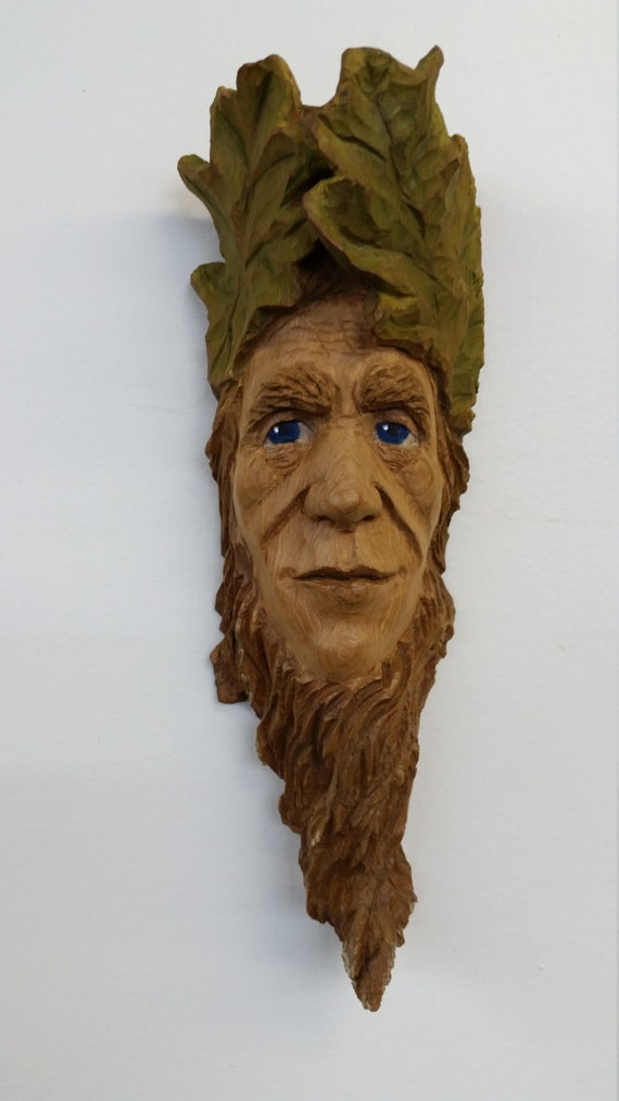 Green Man Woodspirit Elf, Cottonwood Bark Woodland Sculpture - Hand carved by Kathy