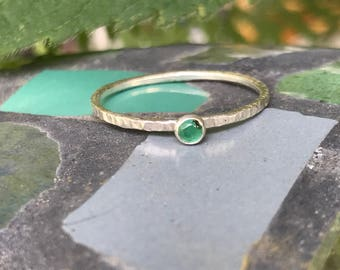 Emerald Sterling Silver Tiny Stacking Ring