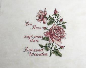 Finished completed Cross stitch - Roses - Dutch Piece  cross stitch crossstitch