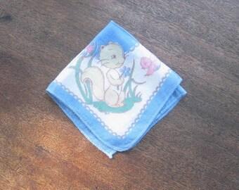 Pink-White-Blue Vintage Squirrel & Little Bird Hankie~Children's Adorable Wildlife Print '50s Novelty Gift Handkerchief; Free Ship/U.S.