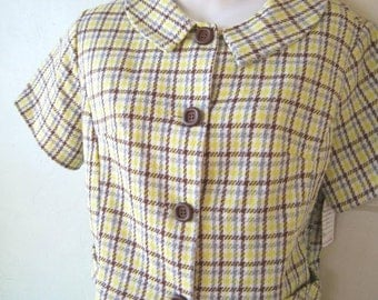 Cute Sears 1960s Vintage Grey/Brown/Yellow Plaid Jacket & Skirt Set~Small Peter Pan Collar Jacket; Size Medium Skirt~Vintage Office Girl